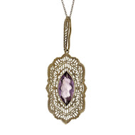 Estate 1950 14k White Gold Pierced  Filigree Amethyst Pendant 3.75cts