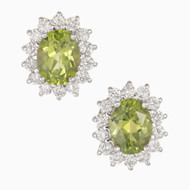 Estate 1960 – 1970 2.75ct Peridot Diamond 14k White Gold Oval Earrings