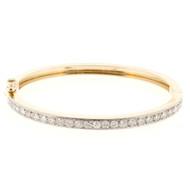Estate Hinged bangle Bracelet Bead Set Diamonds 1.10ct 14k Yellow Gold