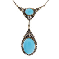 Estate 1930 English Turquoise Seed Pearl Victorian Revival Yellow Gold Necklace