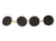 Vintage 1920 Concave 14k Platinum Onyx Double Sided Cuff Links