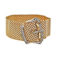 Vintage Retro 1940 14k Buckle Diamond .80ct Wide Mesh Bracelet