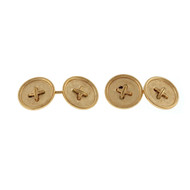 Vintage 1950 14k Yellow Gold Double Sided Button Style Cuff Links