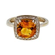 Estate 2.25ct Cushion Cut Citrine 14k White Gold Halo Diamond Ring