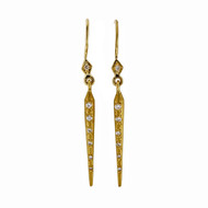 Designer Artist Style Textured Diamond Cylinder Dangle Earrings