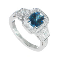 Bright Blue 1.62ct Sapphire PSD Trapezoid Halo 18k White Gold Engagement Ring