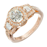 Antique 1.03ct Diamond PSD Triple Halo Trapezoid 18k Rose Gold Engagement Ring