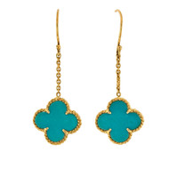 Estate Natural Turquoise Clover 18k Yellow Gold Dangle Earrings