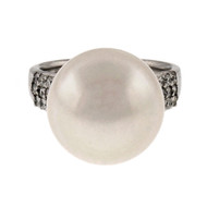 Vintage Natural Color White South Sea Cultured Pearl Ring 18k White Gold Diamond
