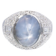 Antique Art Deco 5.00ct Violet Blue Star Sapphire Platinum Diamond Ring