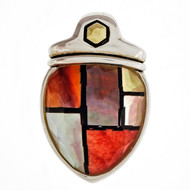 Asch Grossbardt Silver 18k Mother Of Pearl Hardstone Inlaid Quartz Pendant
