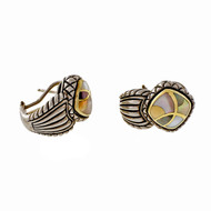 Asch Grossbardt Silver 18k Stone Inlaid Clip Post Earrings