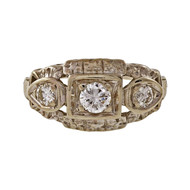 1950 3 Diamond .28ct Engraved Filigree 14k White Gold Ring