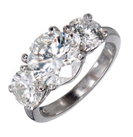 Estate Platinum 3 Stone Diamond Ring 2.23ct Center 1.45ct Sides