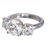 Estate Platinum 3 Stone Diamond Ring 2.23ct Center 1.45ct Sides
