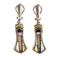 Asch Grossbardt Silver 18k Dangle Earrings Mother Of Pearl Hardstone Quartz Top