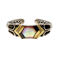 Asch Grossbardt Silver 18k Bangle Inlaid Mother Of Pearl Quartz Top