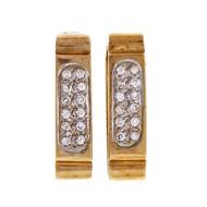 Vintage 1950-1960 Hinged Hoop 14k Yellow Gold .72ct Diamond Earrings