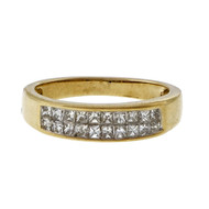 Estate 1.20ct Two Row Princess Cut Fine Diamond Band Ring