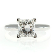 Estate 2.02ct GIA I, VS1 Princess Cut Diamond Platinum Square Prong Ring