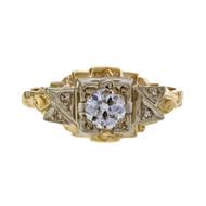 1930 Vintage Old European Cut Diamond 0.33ct Diamond Engagement Ring