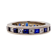 Tiffany & Co Platinum Square Diamond Sapphire Eternity Band Ring Size 4.5