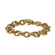 Estate 1950 Extra Heavy Spiral Link Charm Bracelet 14k