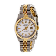 Rolex 69173 Ladies 18k Steel Datejust Wrist Watch Custom Colored White Dial