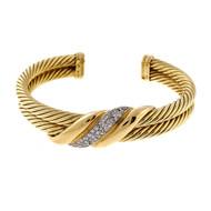Vintage David Yurman 2 Row Cable Bracelet .50ct Diamond Center 18k Yellow Gold