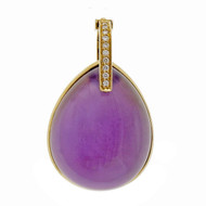 Designer JMP Amethyst Mother Of Pearl 18k Yellow Gold Diamond Pendant Enhancer
