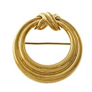 "Estate Tiffany & Co Circle ""X"" Pin Broach 18k Yellow Gold"