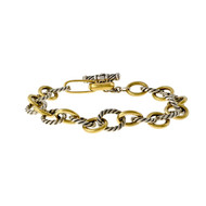 Estate David Yurman Cable Classics Oval Link Toggle Bracelet 18k Gold Silver