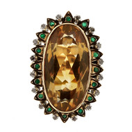 Antique 20.00ct Citrine Emerald Diamond 18k Yellow Gold Ring