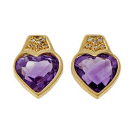 Estate 5.00ct Heart Amethyst Earrings Pave Diamond Tops 14k Yellow Gold