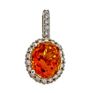 Designer HMA Orange Yellow 2.40ct Citrine 14k White Gold Diamond Pendant