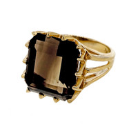 Vintage 1950 8.00ct Smoky Topaz Ring In 14 Prong 14k Yellow Gold Ring
