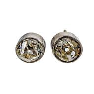 Antique Old Mine Cut 1.72ct Platinum Diamond Certified Bezel Set Stud Earrings