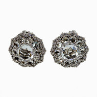 Designer 18k White Gold Round White Topaz Diamond Clip Post Earrings