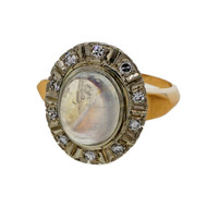 Vintage Retro Art Deco 1930 14k Pink White Gold 1.50ct Moonstone Diamond Ring