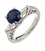 Del Co Designer 2.37ct Royal Blue Certified Sapphire Diamond 14k White Gold Engagement Ring