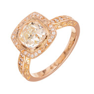 Peter Suchy 1.54ct Old Mine Brilliant Cut 18k Pink Gold Halo Engagement Ring