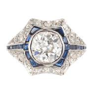 Art Deco Old European Diamond Sapphire Engagement Gold Platinum Ring