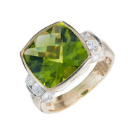 Estate 6.62ct Cushion Bright Green Peridot Diamond 14k Yellow Gold Ring