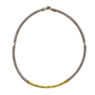 David Yurman Metro Choker Diamond Necklace Silver 14k Gold