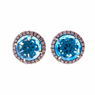 Christophe Danhier Designer 18k White Gold Blue Topaz Diamond Stud Earrings