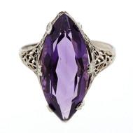 Antique Art Deco Filigree SJ 5.00ct Marquise Amethyst 14k White Gold Ring