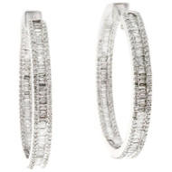 Estate Round Baguette Diamond Inside Out Diamond Hoop Earrings 14k White Gold