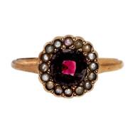 Vintage Victorian Rhodolite Garnet Natural Seed Pearl 10k Rose Gold Ring