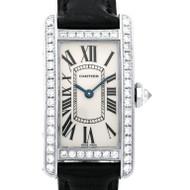 Cartier Diamond Tank Americaine 18k White Gold Wrist Watch Deployant Buckle