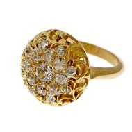 Antique Estate 1900 14k Dome Ring Old Mine Brilliant Cut Diamonds 1.75cts